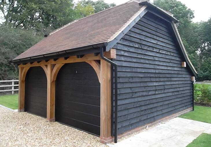 Black Colour Sectional Double Garage Doors
