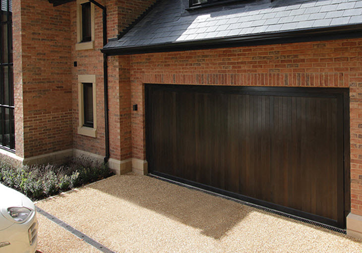 Brwon-Walnut Colour Sectional Garage Doors
