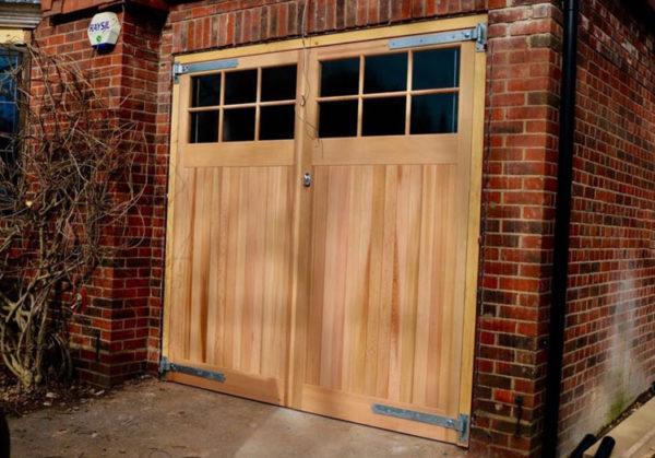 Side Hinged Garage Doors with 6 panel windows - London
